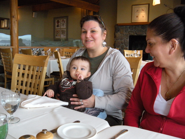 Shanne and Robina with baby in restaurant